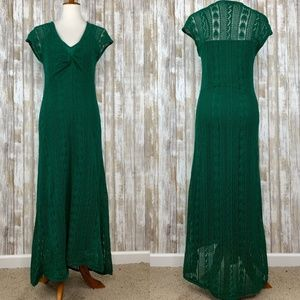 Zara Knit Long Green Crochet Maxi Dress Sz M